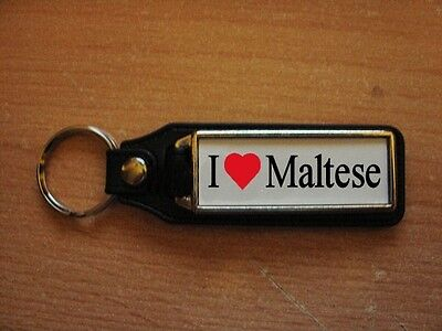 I Love Maltese Leather Style Keyring
