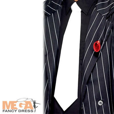 White Gangster Tie On Elastic Mens Fancy Dress Mafia 1920s 20s Costume Accessory
