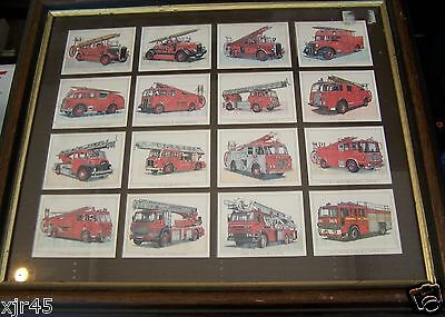 A Framed Set of Fire Engine Collectors Cards