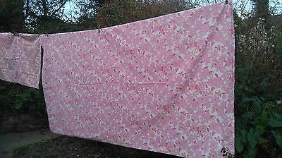 Original Vintage Retro Funky Foral  Double Sheet & 2 Pillowcases Pink
