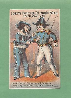 VICTORIAN SAILORS On FEAREY'S ALBANY SHOES Victorian Trade Card--NEWTON, NJ