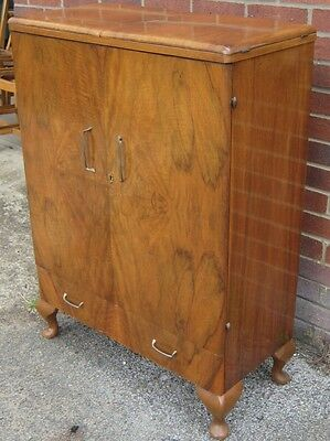 Art Deco antique figured walnut metamorphic mirrored cocktail bar drinks cabinet