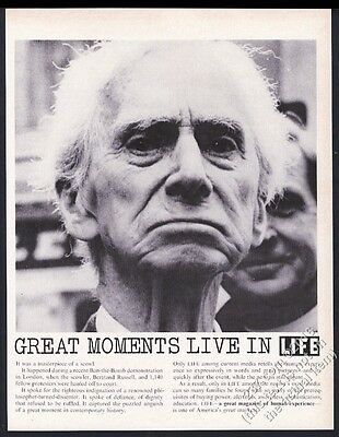 1962 Bertrand Russell great photo Life vintage print ad