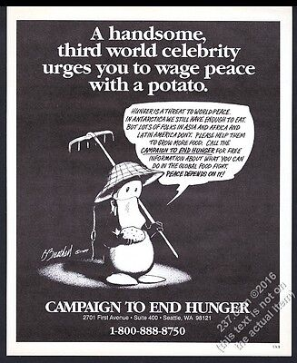 1990 Opus Penguin art Campaign to End Hunger vintage print ad