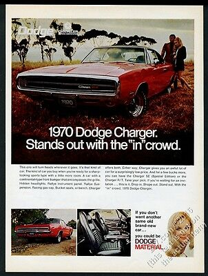 1970 Dodge Charger 500 red car photo vintage print ad