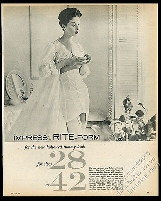 1956 Impress Rite-Form lingerie woman in gown and girdle photo vintage print ad