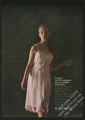 1962 Kayser lingerie woman in pink bra nightgown color photo vintage print ad