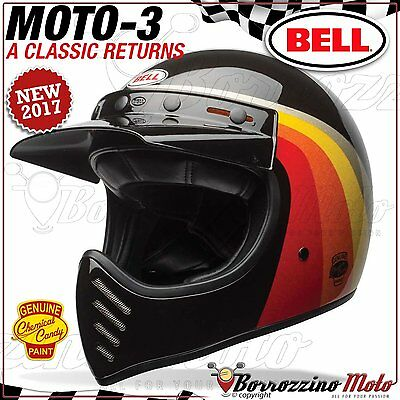 Casco Vintage Integrale / Offroad Bell Moto-3 Chemical Candy Black Gold Xl