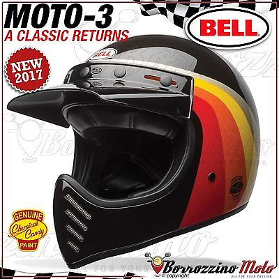 Casco Vintage Offroad Cross Enduro Bell Moto-3 Chemical Candy Black Gold S