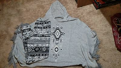 Justice outift lot pants leggings size 14, grey poncho top size Large