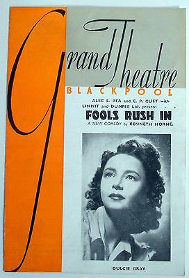 1946 Blackpool Grand Theatre Programme FOOLS RUSH IN Jessica Spencer Derek Farr