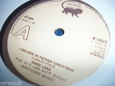 """GREG LAKE- I BELIEVE IN FATHER CHRISTMAS VINYL 7"""" 45RPM p"""