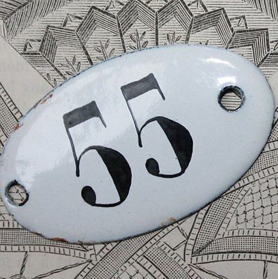 Vintage French Apothecary Porcelain Enamel Number Sign 55