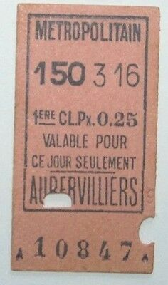 France,Paris Metro,Aubervilliers 1st Class Railway Ticket,1903.