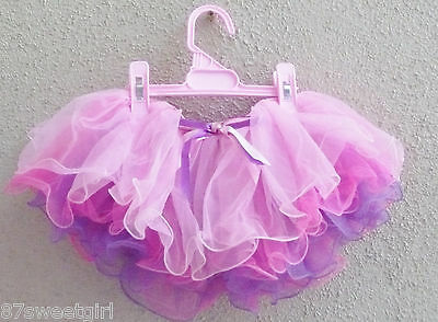 Purple fuchsia pink layers tulle toddler girl tutu skirt dancing size  2T 3T 4T