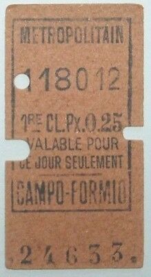 France,Paris Metro,Campo-Formio 1st class Railway Ticket,1910.