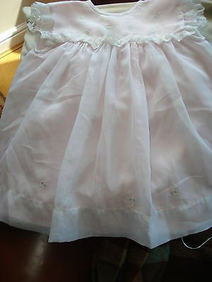 Childs Beautiful  Vintage  Terylene Dress With Pink Lining