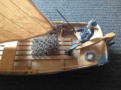 "Fishing Boat With Sails 13.5"" With Heavy Metal Fisherman"