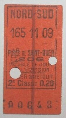 France,Paris Nord-Sud,Porte de Saint-Ouen 2nd Class Return Railway Ticket,1911.
