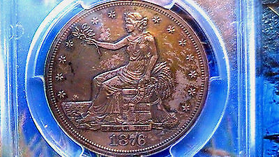 **PROOF** {TONED} Trade-Dollar. 1876 PCGS-PR-60 {{MINT RARITY}} Only 1150 Minted