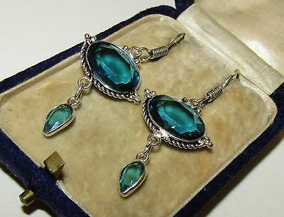 Lovely, Vintage, Sterling Silver Earrings With Aquamarine And Blue Topaz Gems