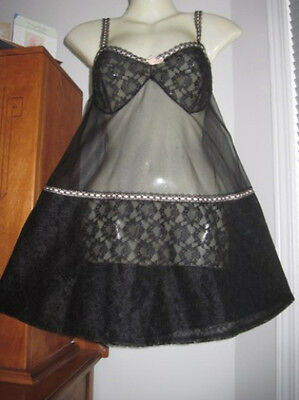 VINTAGE NYLON CHIFFON Sissy LACE BABYDOLL NIGHTGOWN S M Sexy Lacy