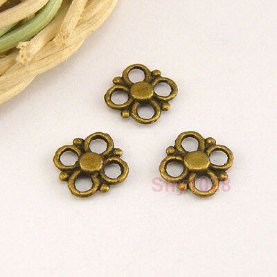 150Pcs Antiqued Bronze Tiny Flower Connectors Double-sided 8.5mm A4872