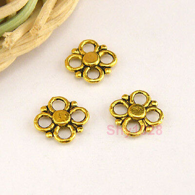 150Pcs Antiqued Gold Tiny Flower Connectors Double-sided 8.5mm A4882
