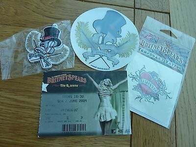 2009 Britney Spears Circus Tour Stickers, Badge & London 02 Ticket Stub