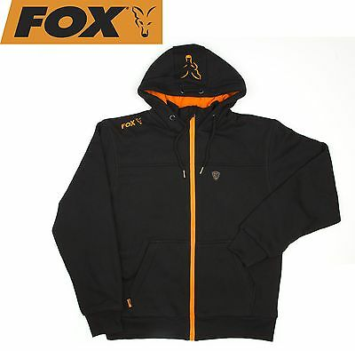 Fox Black / Orange Heavy Lined Hoodie Jacke Kapuzenpullover, Angelpullover