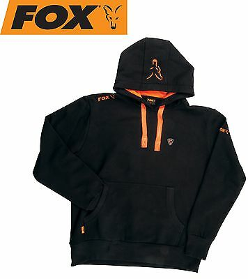 Fox Black / Orange Hoodie Kapuzenpullover, Angelpullover mit Kapuze