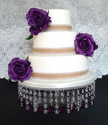 14 inch STUNNING PURPLE AND CLEAR ACRYLIC CRYSTAL DIAMANTE WEDDING CAKE STAND