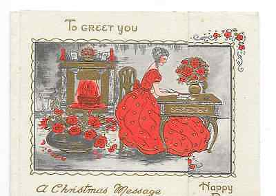 Antique Vintage Art Deco Design Red Gold Lady Roses Christmas Greeting Card