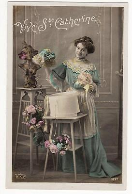 VINTAGE FRENCH RP POSTCARD,GLAMOUROUS WOMAN,ST CATHERINE,HAT BOX,FLOWERS,c1910