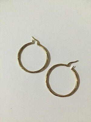 Yellow 9ct GOLD Twisted Hoop Large EARRINGS Hallmarked 375 ITALY, Must See