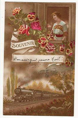 Vintage French Rp Postcard,glamourous Woman,train,flowers,sketch Of Monoplane