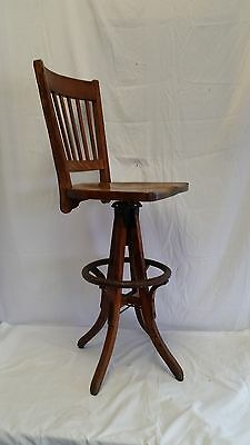 Antique Arts & Crafts Oak High Back Stool,Industrial,Factory,Drafting,Engineers