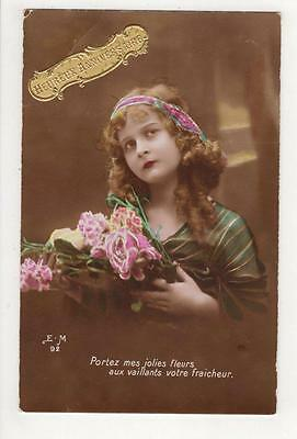VINTAGE FRENCH RP POSTCARD,GLAMOUROUS YOUNG LADY & BOUQUET,G PIPROT, c1910