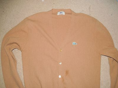 Vintage Izod Lacoste Men's Cardigan Sweater Beige Xl Used Orlon Acrylic