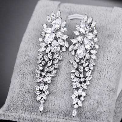White Topaz Dangle Chandelier Wedding Party Earrings White Gold Filled Jewelry