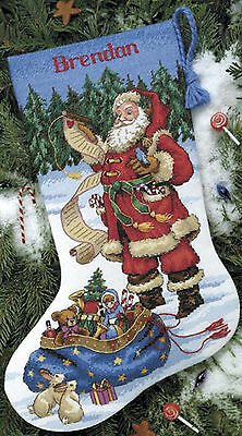 Cross Stitch Kit ~ Dimensions Checking His List Christmas Stocking #8645