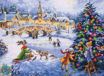 Cross Stitch Kit ~ Gold Collection Winter Celebration Christmas Town #70-08919