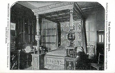 WORCESTER - THE APOSTLES BEDSTEAD IN THE PRIORS ROOM c1903 POSTCARD MINT