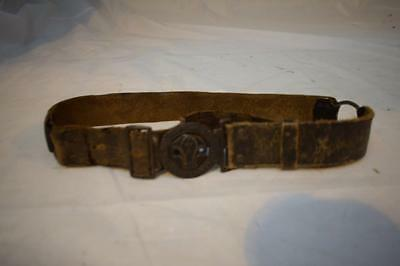 Vintage Boy Scout Early Leather Belt  With BE PREPARED Belt Buckle
