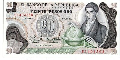 Colombia 1982 20 Pesos Oro Currency Unc