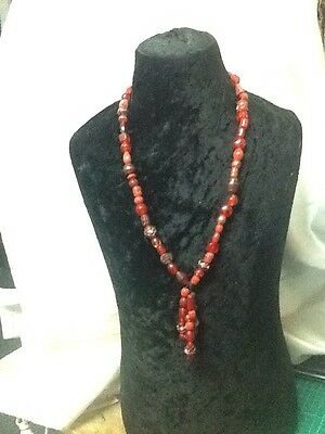 Red Glass Bead Necklace With Venetian Beads
