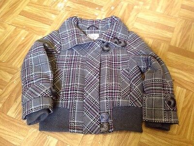Next Girls Grey Check Long Sleeve Zip Up Jacket Size 3-4 Years Good Condition