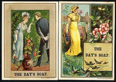 DAY'S SOAP - 2 Trade Cards c 1880's - Pretty Women and Flowers