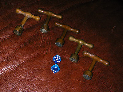 Vtg 5 Solid Brass Bronze Fireplace Gas Valve Keys from Victorian Home