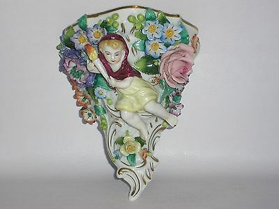 "Vintage Sitzendorf Wall Mount "" Flower and Girl carrying a Torch"" Superb Detail"